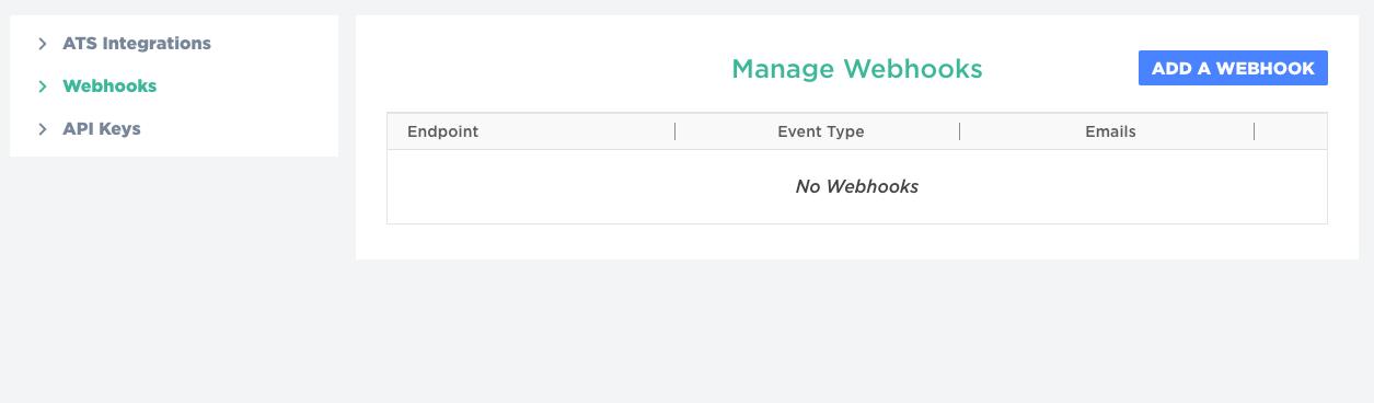 Manage Webhooks page